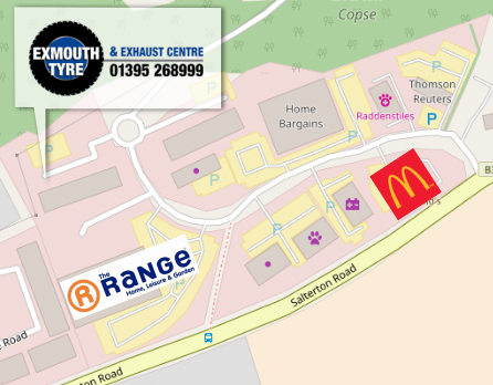 Direction to Exmouth Tyre & Exhaust Centre